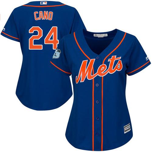 Women's Mets #24 Robinson Cano Blue Alternate Women's Stitched Baseball Jersey