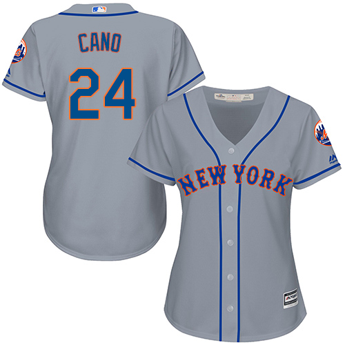 Women's Mets #24 Robinson Cano Grey Road Women's Stitched Baseball Jersey