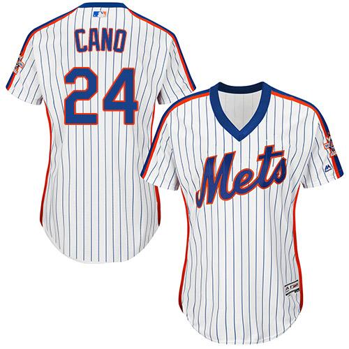 Women's Mets #24 Robinson Cano White(Blue Strip) Alternate Women's Stitched Baseball Jersey