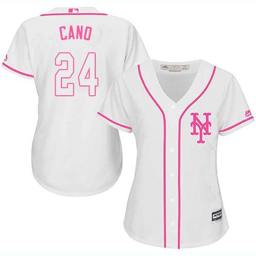 Women's Mets #24 Robinson Cano White Pink Fashion Women's Stitched Baseball Jersey