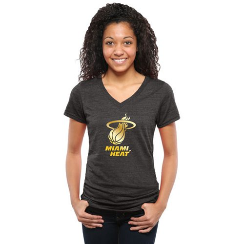 Women's Miami Heat Gold Collection V-Neck Tri-Blend T-Shirt Black