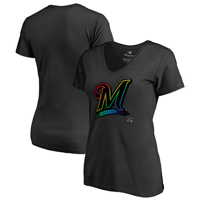Women's Milwaukee Brewers Fanatics Branded Pride Black T-Shirt