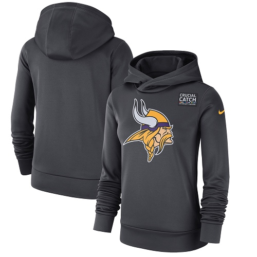 Women's Minnesota Vikings Nike Anthracite Crucial Catch Performance Pullover Hoodie