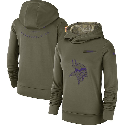 Women's Minnesota Vikings Nike Olive Salute to Service Sideline Therma Performance Pullover Hoodie