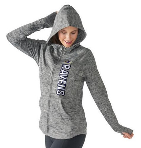 Women's NFL Baltimore Ravens G-III 4Her by Carl Banks Recovery Full-Zip Hoodie Heathered Gray