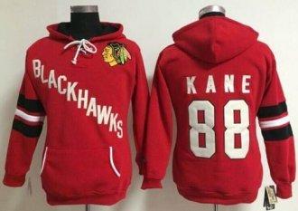 Women's NHL Blackhawks #88 Patrick Kane Red Old Time Heidi Hoodie