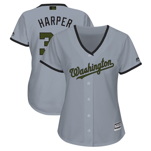 Women's Nationals #34 Bryce Harper Grey 2018 Memorial Day Cool Base Women's Stitched Baseball Jersey