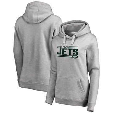 Women's New York Jets NFL Pro Line By Fanatics Branded Ash Iconic Collection On Side Stripe Pullover Hoodie