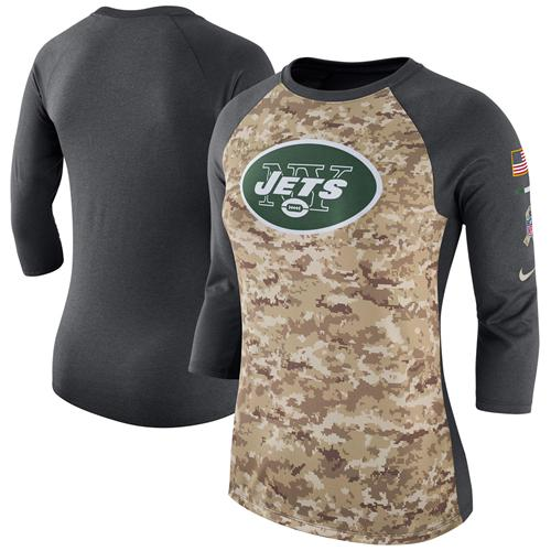Women's New York Jets Nike Camo Charcoal Salute to Service Legend Three-Quarter Raglan Sleeve T-Shirt