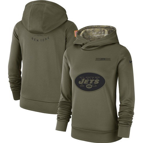 Women's New York Jets Nike Olive Salute to Service Sideline Therma Performance Pullover Hoodie