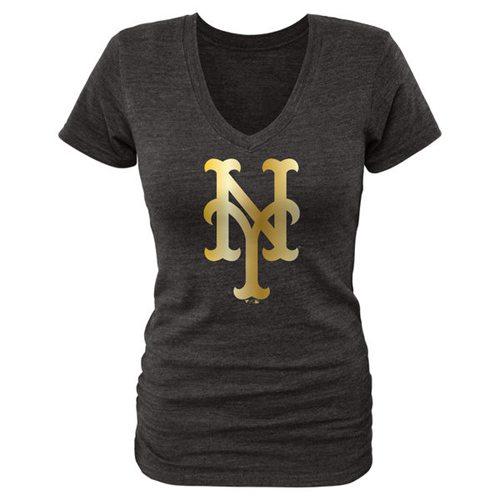 Women's New York Mets Fanatics Apparel Gold Collection V-Neck Tri-Blend T-Shirt Black