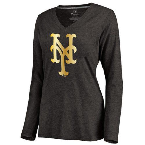 Women's New York Mets Gold Collection Long Sleeve V-Neck Tri-Blend T-Shirt Black