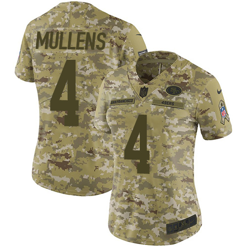 Women's Nike 49ers #4 Nick Mullens Camo Women's Stitched NFL Limited 2018 Salute to Service Jersey