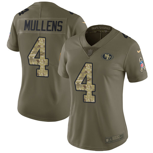 Women's Nike 49ers #4 Nick Mullens Olive Camo Women's Stitched NFL Limited 2017 Salute to Service Jersey