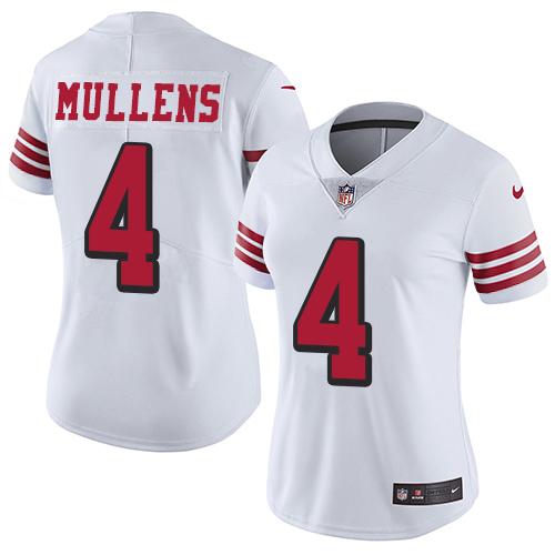 Women's Nike 49ers #4 Nick Mullens White Rush Women's Stitched NFL Vapor jerseysclub.net Untouchable Limited Jersey