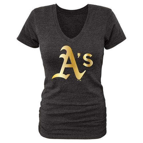 Women's Oakland Athletics Fanatics Apparel Gold Collection V-Neck Tri-Blend T-Shirt Black