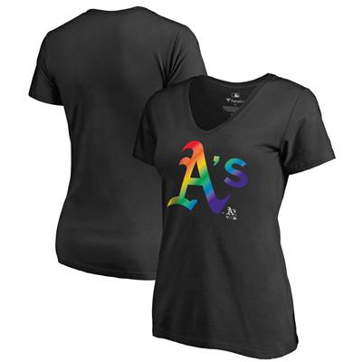 Women's Oakland Athletics Fanatics Branded Pride Black T-Shirt