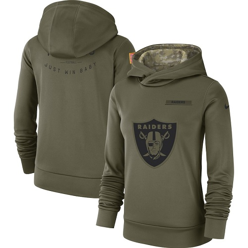 Women's Oakland Raiders Nike Olive Salute to Service Sideline Therma jerseyssite.net Performance Pullover Hoodie