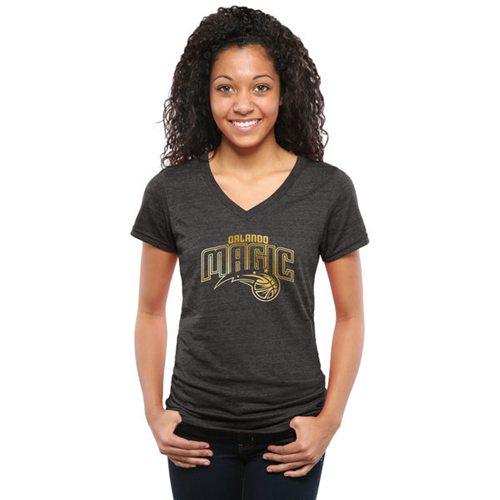 Women's Orlando Magic Gold Collection V-Neck Tri-Blend T-Shirt Black