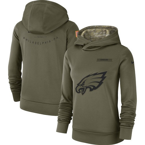 Women's Philadelphia Eagles Nike Olive Salute to Service Sideline jerseyssite.net Therma Performance Pullover Hoodie