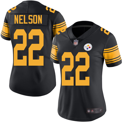 Women's Pittsburgh Steelers #22 Steven Nelson Black Rush Vapor Untouchable Limited Jersey