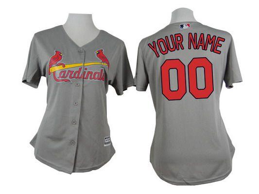 Women's St. Louis Cardinals Customized Gray Jersey