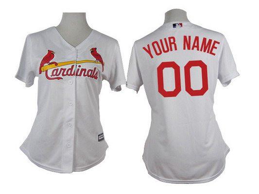 Women's St. Louis Cardinals Customized White Jersey