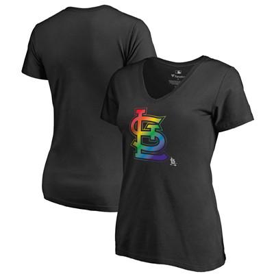 Women's St. Louis Cardinals Fanatics Branded Black Plus Sizes Pride T-Shirt