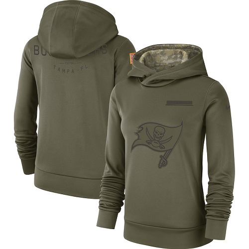 Women's Tampa Bay Buccaneers Nike Olive Salute to Service Sideline Therma Performance Pullover Hoodie