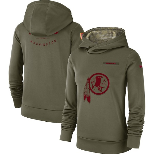 Women's Washington Redskins Nike Olive Salute to Service Sideline Therma Performance Pullover Hoodie