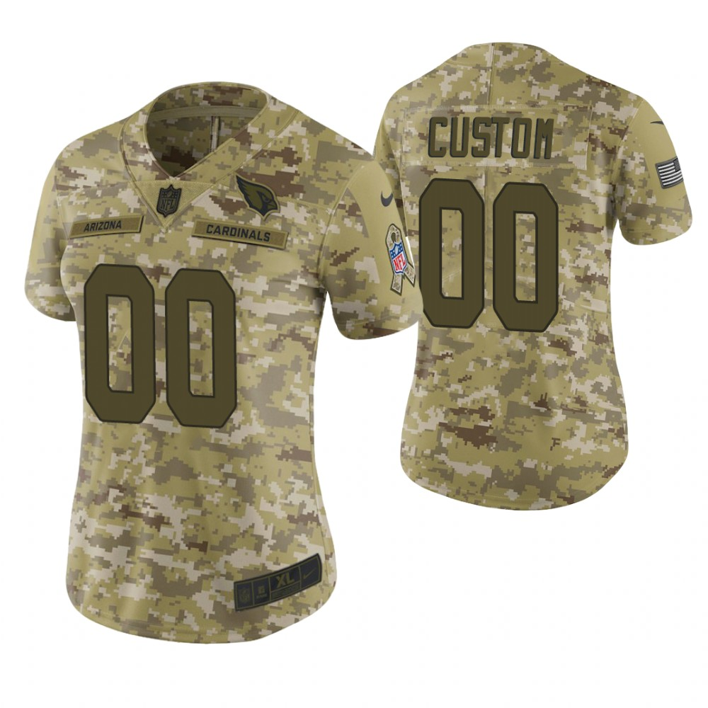 Women Arizona Cardinals Custom Camo 2018 Salute To Service Limited Jersey