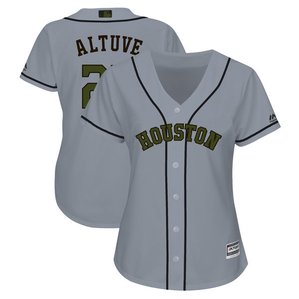 Women Astros 27 Jose Altuve Gray Women 2018 Memorial Day Cool Base Jersey