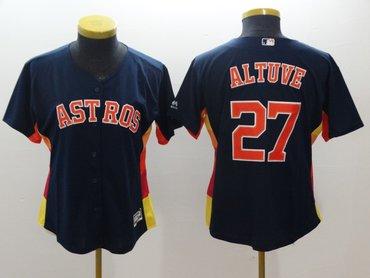 Women Astros 27 Jose Altuve Navy Women Cool Base Jersey