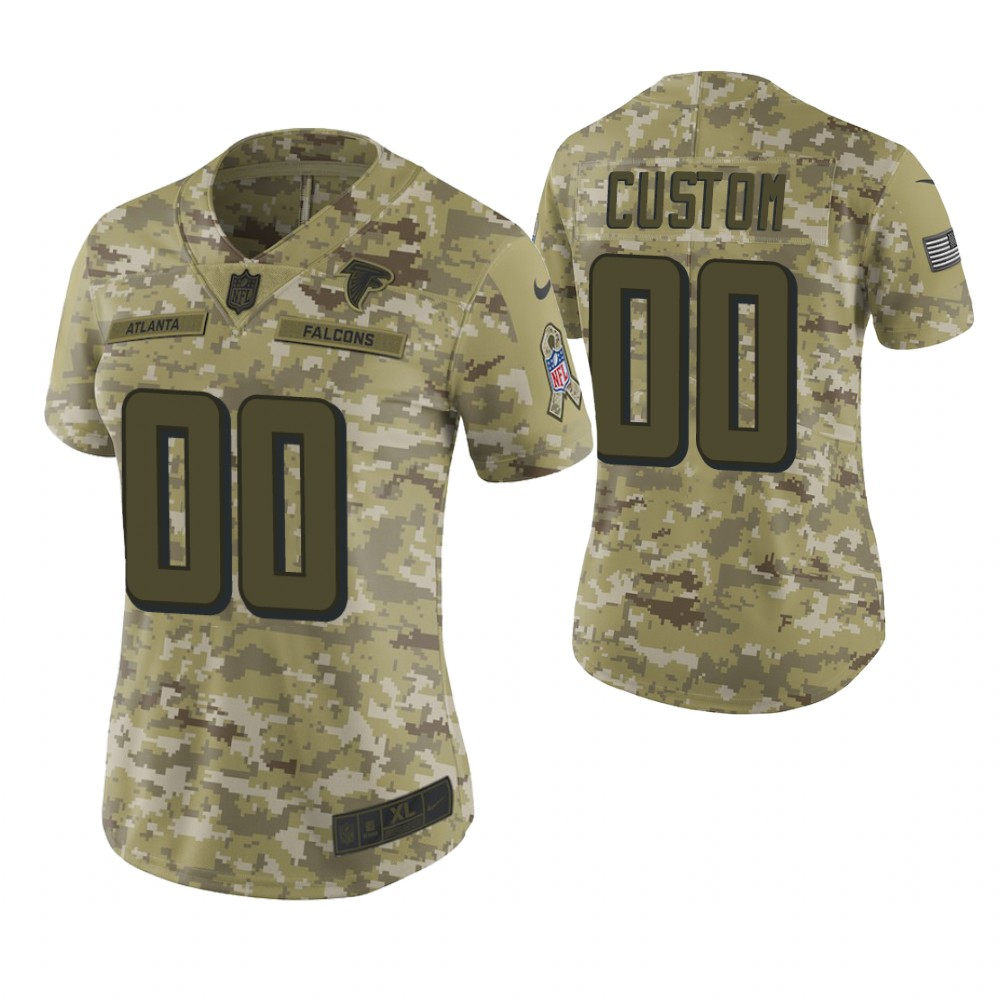 Women Atlanta Falcons Custom Camo 2018 Salute To Service Limited Jersey