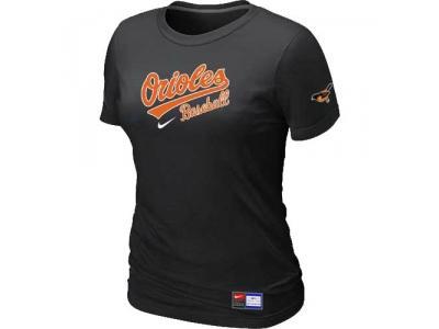 Women Baltimore Orioles NEW Black Short Sleeve Practice T-Shirt