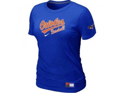 Women Baltimore Orioles NEW Blue Short Sleeve Practice T-Shirt