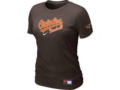 Women Baltimore Orioles NEW Brown Short Sleeve Practice T-Shirt