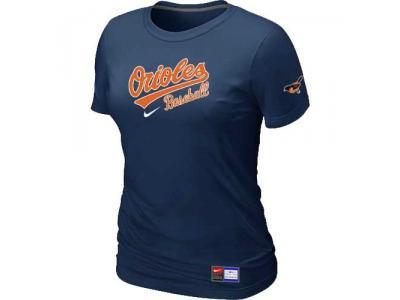 Women Baltimore Orioles NEW D.Blue Short Sleeve Practice T-Shirt