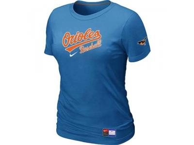 Women Baltimore Orioles NEW L.blue Short Sleeve Practice T-Shirt