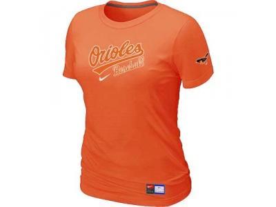 Women Baltimore Orioles NEW Orange Short Sleeve Practice T-Shirt