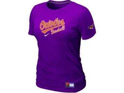 Women Baltimore Orioles NEW Purple Short Sleeve Practice T-Shirt