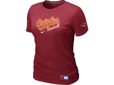 Women Baltimore Orioles NEW Red Short Sleeve Practice T-Shirt