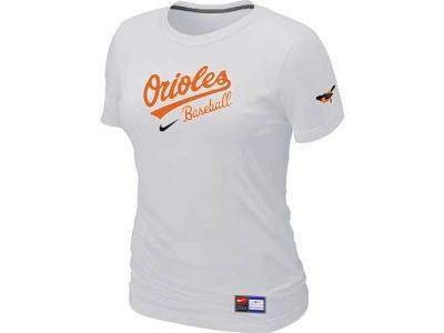 Women Baltimore Orioles NEW White Short Sleeve Practice T-Shirt