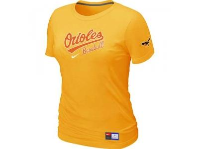 Women Baltimore Orioles NEW Yellow Short Sleeve Practice T-Shirt