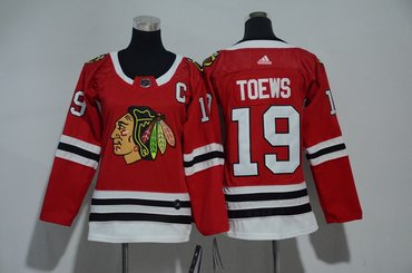 Women Blackhawks 19 Jonathan Toews Red Women Adidas Jersey