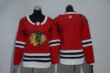 Women Blackhawks Blank Red Women Adidas Jersey