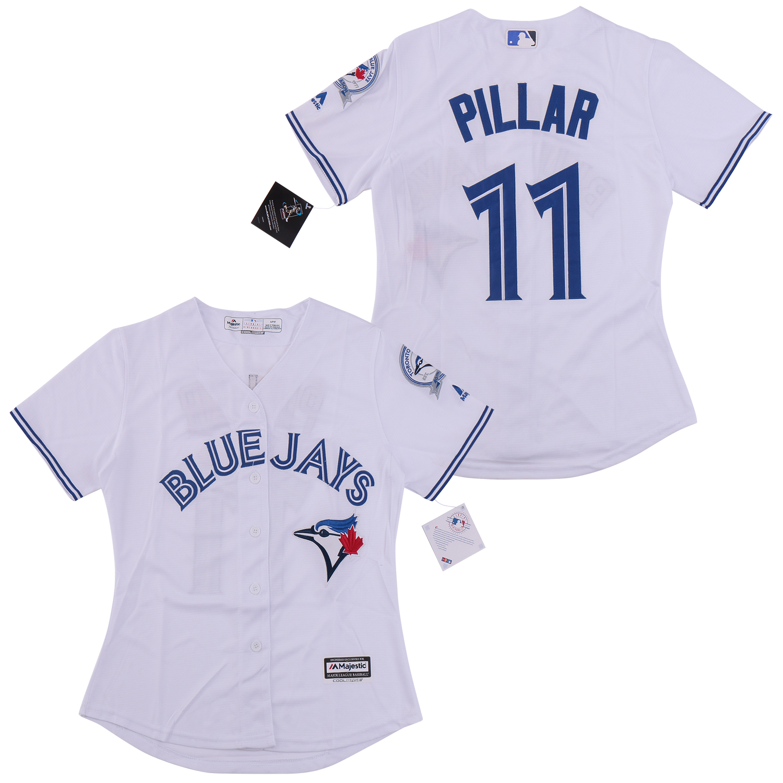 Women Blue Jays 11 Kevin Pillar White Women Cool Base Jersey