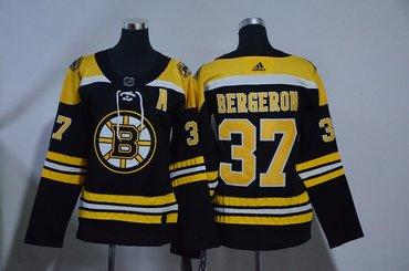 Women Bruins 37 Patrice Bergeron Black Women Adidas Jersey