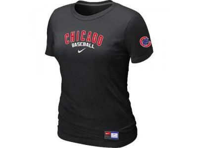 Women Chicago Cubs NEW Black Short Sleeve Practice T-Shirt