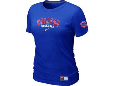 Women Chicago Cubs NEW Blue Short Sleeve Practice T-Shirt